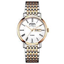 Rotary Gents' Two Tone Rose Gold Plated Bracelet Watch - Product number 6892167