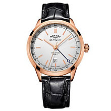 Rotary Gents' Rose Gold Plated Black Leather Strap Satch - Product number 6892280