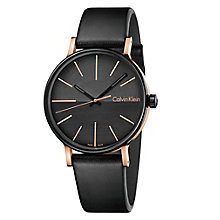 Calvin Klein Men's Black Leather Strap Watch - Product number 6892604