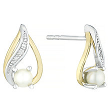 Silver and 9ct Gold Pearl and Diamond earring - Product number 6892639