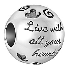 Chamilia Sterling Silver Live With All Your Heart Bead - Product number 6893171