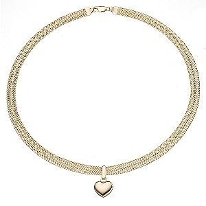 9ct Yellow Gold Mesh Love Heart Necklace