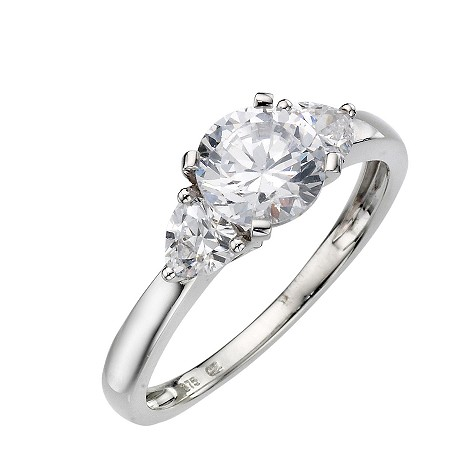 9ct white gold cubic zirconia three stone ring