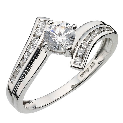 9ct white gold cubic zirconia solitaire crossover ring