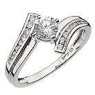 9ct white gold cubic zirconia solitaire crossover ring - Product number 6897843