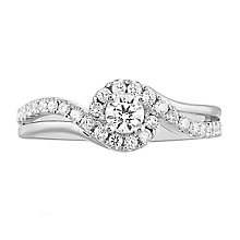 Leo Diamond Platinum 0.50ct II1 Diamond Halo Ring - Product number 6898335