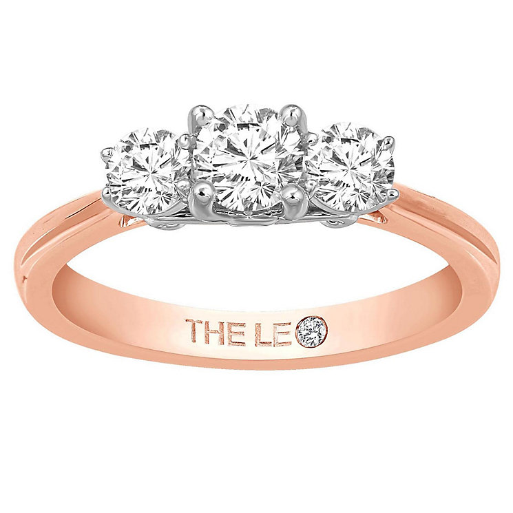 Leo Diamond 18ct Rose Gold 3 Stone 0.75ct II1 Diamond Ring - Product number 6899129