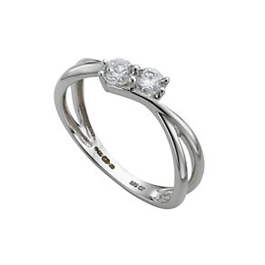 9ct white gold cubic zirconia ring - Product number 6901948