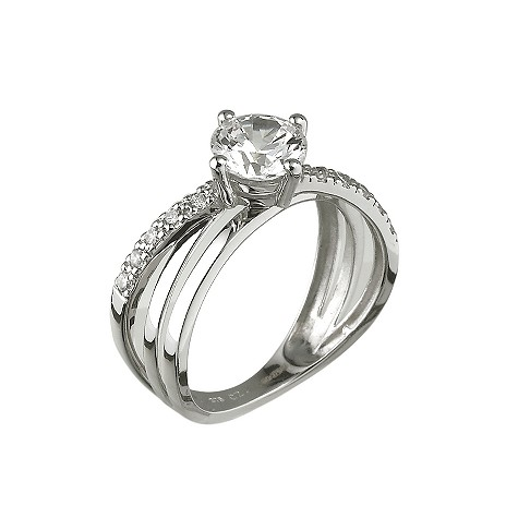 9ct white gold cubic zirconia cross over solitaire ring