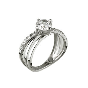 9ct white gold cubic zirconia cross over solitaire ring - Product number 6902340