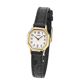 Lorus Ladies' Gold Plated Black Leather Strap Watch - Product number 6905021
