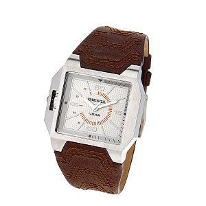 Diesel Men's Silver Dial Brown Leather Strap Watch
