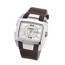 Diesel Mens Bugout White Dial Brown Leather Strap Watch - Product number 6905714