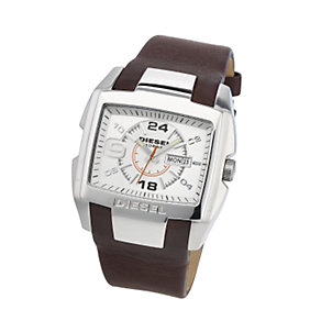 Diesel Men's Silver Dial Brown Leather Strap Watch - Product number 6905714