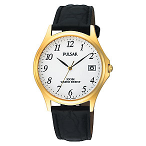 Pulsar Men's Gold-Plated Black Leather Strap Watch - Product number 6905773