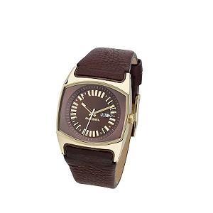 Diesel Ladies' Gold Plated Brown Leather Strap Watch