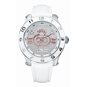 Marc Ecko The Royce White Leather Strap Watch