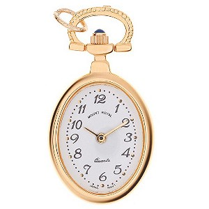 Mount Royal Ladies' Gold Plated Oval White Dial Pocket Watch - Product number 6906346