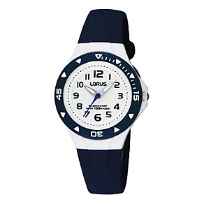 Lorus Child's White Dial Blue Rubber Strap Watch - Product number 6907938