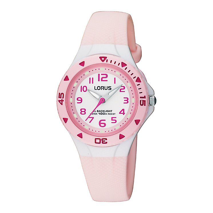 Lorus Child's White Dial Pink Rubber Strap Watch - Product number 6907946