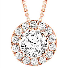 Leo Diamond 18ct Rose Gold 0.50ct II1 Diamond Halo Pendant - Product number 6908691