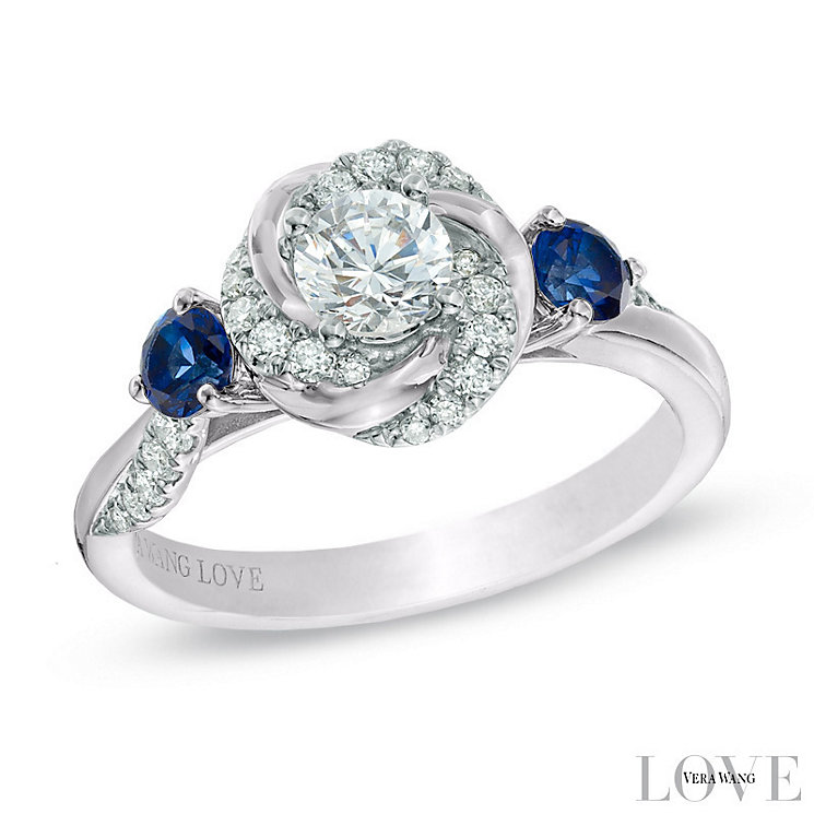 Vera Wang Platinum 0.58ct Diamond and Sapphire Ring - Product number 6909833