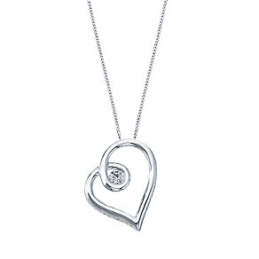 Love's Embrace 9ct white gold diamond heart pendant - Product number 6912249