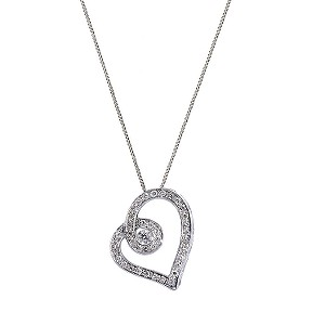 Love's Embrace 9ct white gold quarter carat diamond pendant - Product number 6912265