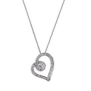 Love's Embrace 9ct white gold quarter carat diamond pendant - Product number 6912265