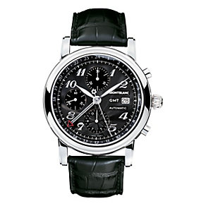 Montblanc Star men's black leather strap watch - Product number 6912680