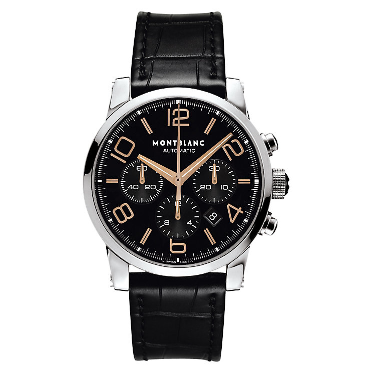Montblanc Timewalker men's black leather strap watch - Product number 6912966