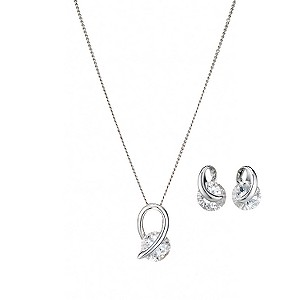 9ct white gold cubic zirconia pendant and earrings gift set - Product number 6913393