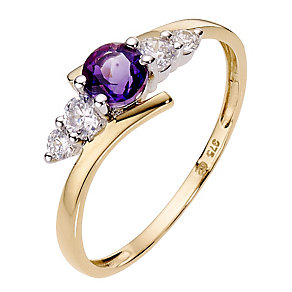 9ct Yellow Gold Amethyst Cubic Zirconia Ring - Product number 6913601