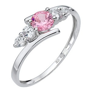 9ct White Gold Pink