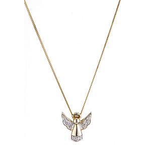 9ct yellow gold diamond angel child's pendant - Product number 6913903