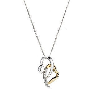 Silver & 9ct gold interlocked heart pendant - Product number 6913954