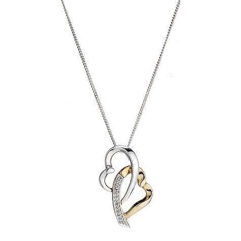 Silver and 9ct gold interlocked heart pendant