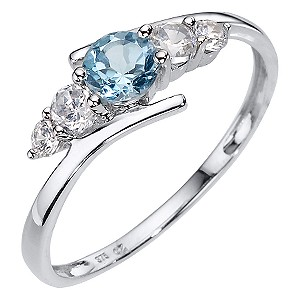 9ct White Gold Blue Topaz Cubic Zirconia Kick Ring