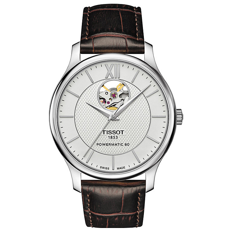 Tissot Men's Stainless Steel Open Heart Leather Strap Watch - Product number 6915345
