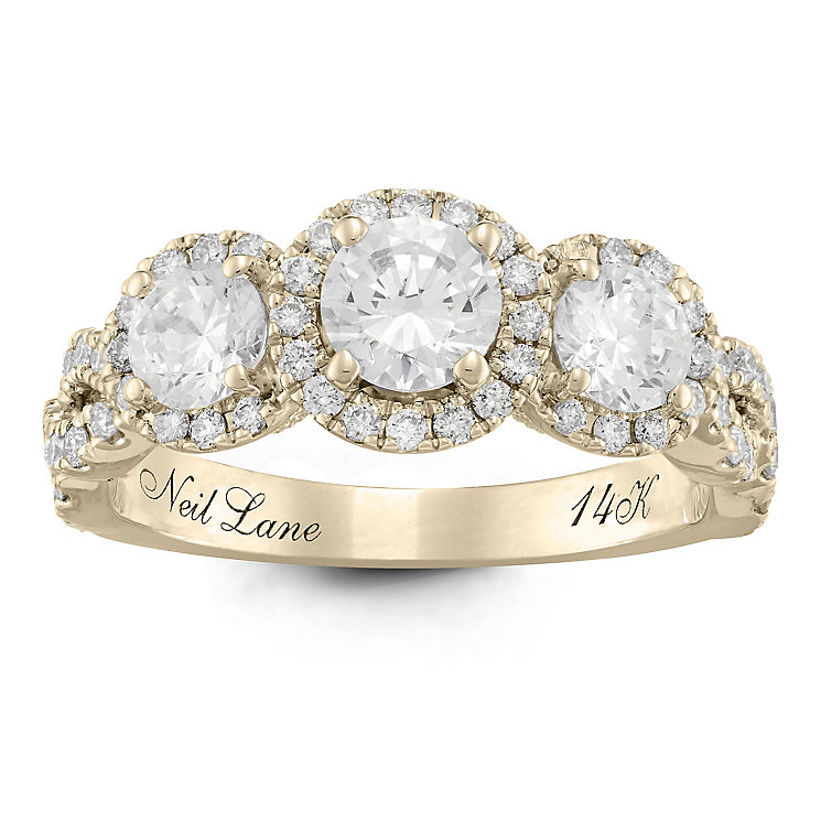 Neil Lane 14ct Yellow Gold 1.5ct Diamond 3 stone Ring - Product number 6935141