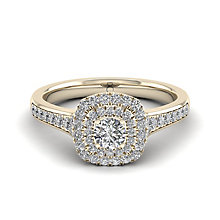 The Diamond Story 18ct Yellow Gold 0.50ct Diamond Halo Ring - Product number 6939430