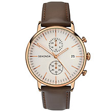 Sekonda Men's Rose Gold Brown Leather Strap Watch - Product number 6944671