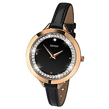 Seksy Ladies' Stone Set Rose Gold Black Leather Strap Watch - Product number 6954324