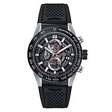 TAG Heuer Carrera Men's Stainless Steel Black Strap Watch - Product number 6956378