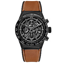 TAG Heuer Carrera Men's Black Ceramic Leather Strap Watch - Product number 6956564