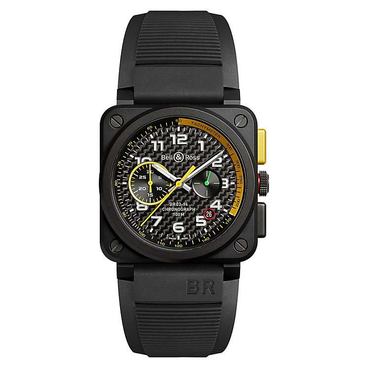 Bell & Ross BR3 Men's Ion Plated Square Black Strap Watch - Product number 6957102