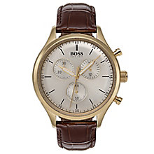Hugo Boss Companion Men's Gold Plated Brown Strap Watch - Product number 6957471