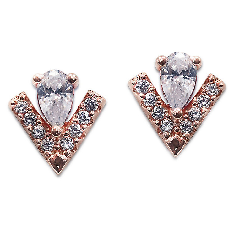 Carat Victoria Rose Gold Tone Stud Earrings - Product number 6957609