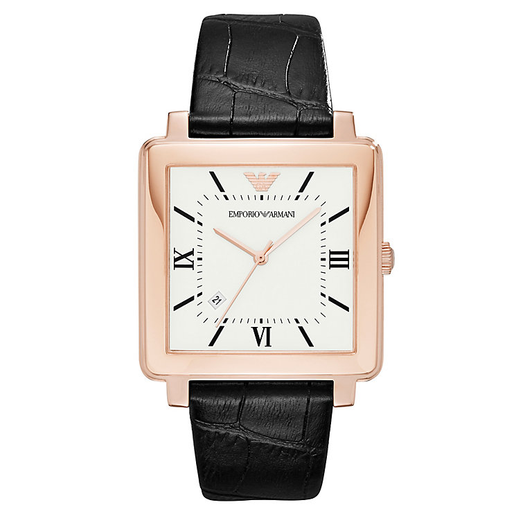 Emporio Armani Men's Rose Gold Tone Square Strap Watch - Product number 6988334