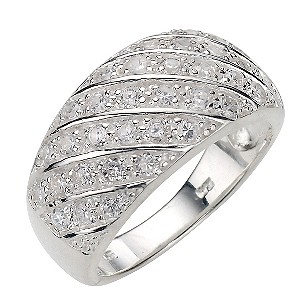 Sterling Silver Cubic Zirconia Ring - Size L